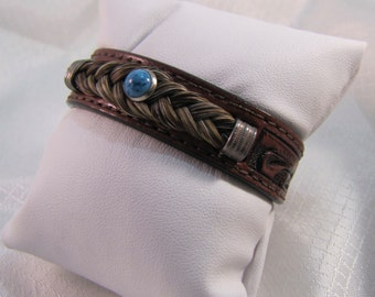 """Southwestern Horse Hair, Sterling, Turquoise and Leather 6-3/4"""" Bracelet"""