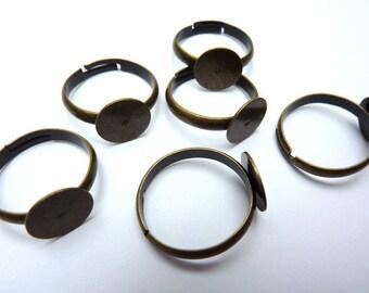10 ring shanks, bases, settings, Ø8mm, bronze