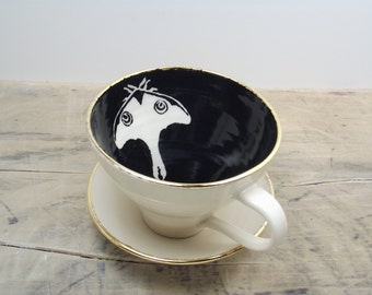 Luna Moth Porcelain Tea Cup & Saucer or Mug-White, Black and Gold, Goth Gift, Steampunk Gift,