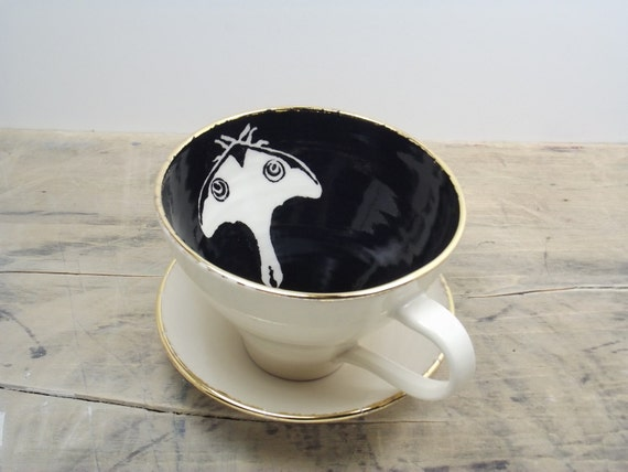 Luna Black and Gold Moth Porcelain Large Tea Cup & Saucer