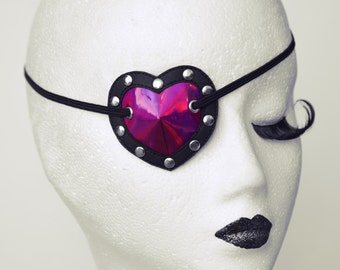 Heart Shaped Eye Patch Mirror Purple and Black Shiny PVC