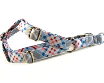 Plaid in Gray Dog Step in Harness