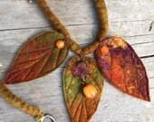 Autumn leaf necklace  - woodland necklace-unique necklace-textile necklace-  Elven jewellery -woodland necklace- autumn leaf