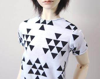 70cm / Super Gem BJD Boy Black & White Triangle T-shirt