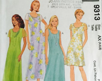 McCall's 9313 Misses' Dress in Two Lengths Pattern, UNCUT, Size 4-6-8, Sleevesless Dress, Casual, Sundress, Summer Time, 1998, Casual Dress
