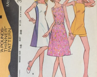 McCall's 3201 Misses' Dress or Tunic and Shorts Pattern, UNCUT, Size 16, Bust 38, Vintage 1972, Sundress, Summertime, Fashion