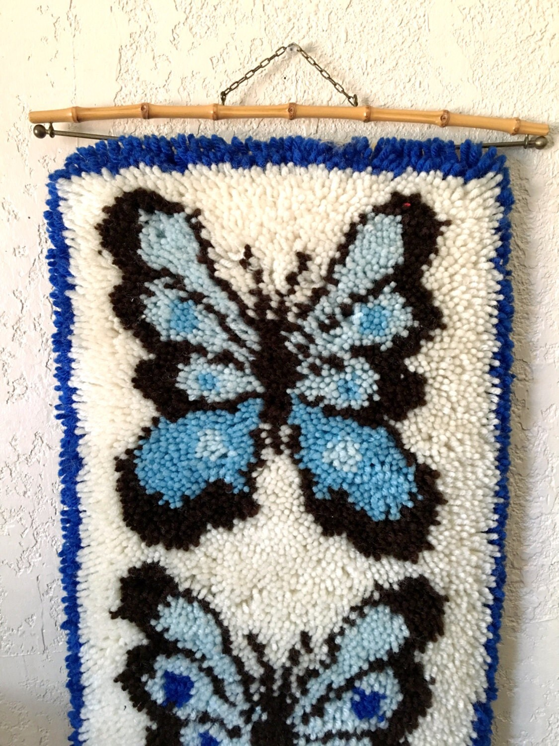 Long Vintage Butterfly Latch Hook Rug Wall Hanging