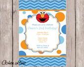 Printable Elmo Birthday Party Invitation.  Elmo Invitation. Elmo Birthday Party. Digital Invitation. Polka dots and chevron.