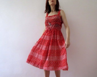 Vintage 70s Red Sundress Sheer Poly Chiffon Apron Dress