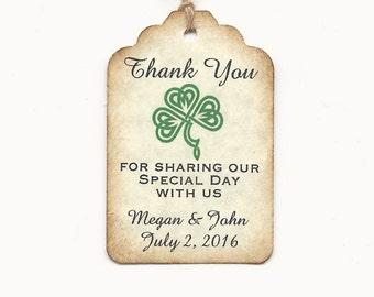 100 CUSTOM Irish/Celtic Thankyou-Liquor Bottle Tags/ Gift Tags/Shower/Wedding Favor Tags/Party favor tags/Shamrock Knot Tag