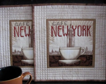 Quilted Placemats New York Cafe Coffee Shop Theme Fabric Beige/Cream French Look and Batik Binding Classy/New York Chic - Two Large Mug Mats
