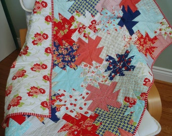 BABY GIRL QUILT - Bonnie and Camille Miss Kate fabrics Fresh Vintage Modern Tied & Quilted Pinwheels