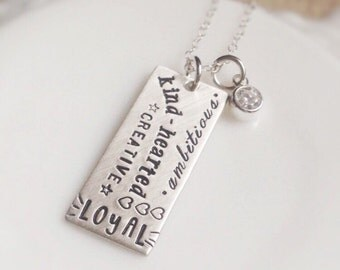 Motivational Graffiti Style Necklace Sterling Silver Choose Your Words Inspirational Gift for Her Graduation Affirmation