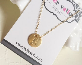 Gold Coin Disc Initial Necklace 14k Gold Filled Button Simple Letter Layering Jewelry
