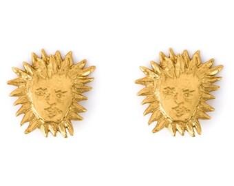 Vintage Yves ST LAURENT YSL Gilt Metal Apollo Sun Face Earrings Costume