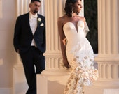 Couture - Wedding Dress - Silk Bridal Gown with Gold Floral Lace - Deep V Neck - Built in Corset - Custom Couture - Unique Showstopping Gown