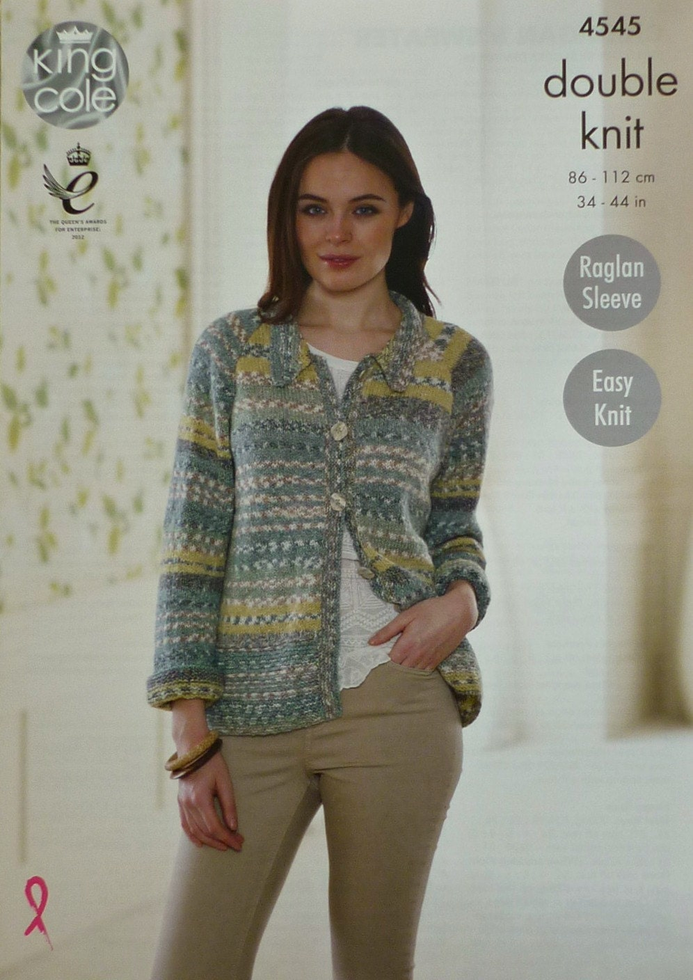 Womens Knitting Pattern K4545 Ladies Long Sleeve Easy Knit Jacket with Collar...
