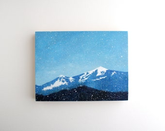 Winter Mountains Painting - 6 x 8