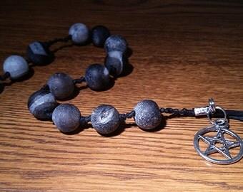Sale: Witches' Prayer Beads - Raw Obsidian Stone, Silver Pentagram + Hemp Cord