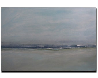 "Painting Acrylic Original, Soft Navy Blue Beach 36"" x 24"" Abstract Seascape"