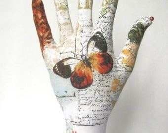 Antique Text Butterfly Fabric Hand Jewelry Display POPULAR Style HAND-Stand