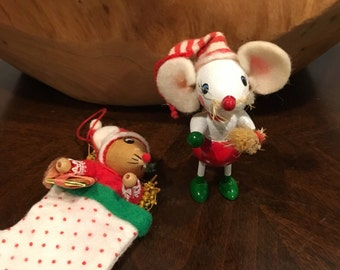Vintage wood  santa Mouse  ornaments felt vintage in stocking and with broom