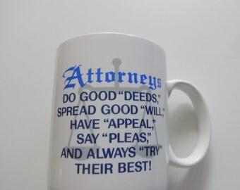 Vintage Attorneys Ceramic Coffee Mug 1987
