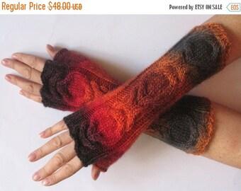 Fingerless Gloves Wrist Warmers Mittens Red Orange Brown Burgundy Knit