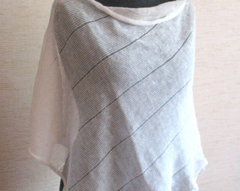 Linen Shawl Cape Clothing White Stripes Striped / Clothing For Women