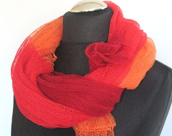 Linen Scarf Orange Red Organic Linen Women's Scarf Pure Linen Spring Clothing