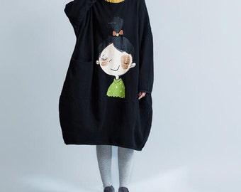 Cotton Long pullover dress women Autumn Oversize dress