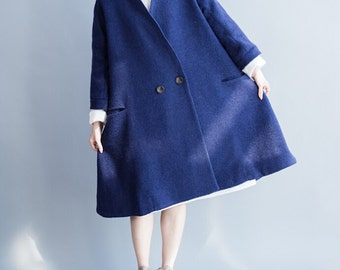 blue Overcoat dark green Overcoat Winter shawl Wool Cloak coat