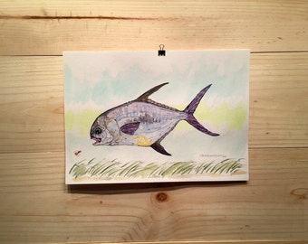 Permit on Turtle Grass fly fishing artwork original watercolor painting by Jonathan Marquardt of BadAxeDesign