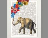 Elephant Art Tuba Player Dictionary Art Elephant  Print Poster Mixed Media Painting Illustration wall decor music