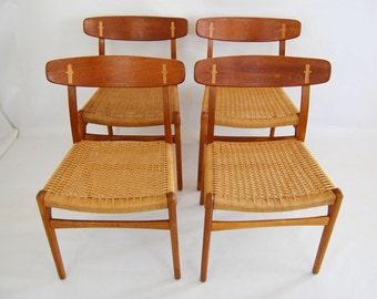 SALE: Hans Wegner CH-23 Teak and Oak Dining Chairs - Set of 4