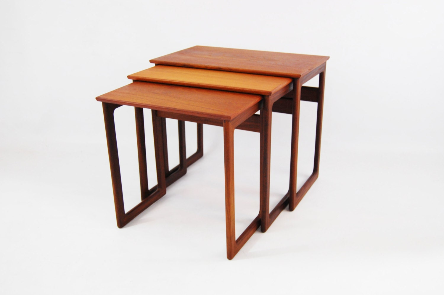 Contemporary Nesting Tables ~ Danish modern teak nesting tables