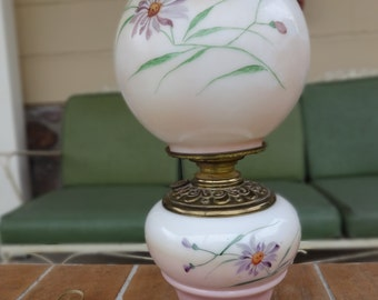 "antique kérosène lamp light gone with the wind victorian floral flowers 17"" cottage chic"