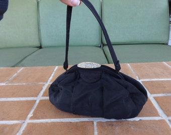 Vintage handbag 1940's swing purse frilo rhinestones art deco dance accessories WWII