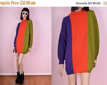 SUMMER SALE 80s Color Block Sweater