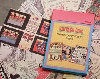 Vintage Style Chic Postcard Set (50 postcards)