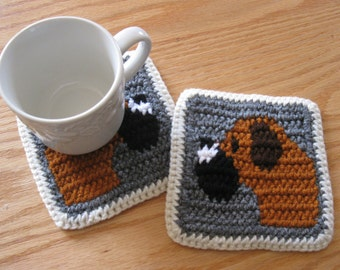 Boxer Dog Coasters. Gray, crochet coaster set with Boxers. Set of 2 dog lover coasters