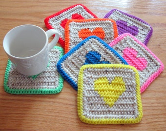 Crochet Heart Coasters. Neutral coaster set with bright colorful hearts. Set of 7
