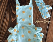 Turquoise Blue and Gold Halter Top Bubble Romper and Knot Headband Set -Photo Prop- Size Medium 12M- 24 Months- Bubble Romper and Headband