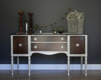 "SOLD***   Antique Buffet, Sideboard, Entry Table Linen Cream White Dark Stained Top & Front ""Lilith in Linen"" Modern Vintage"
