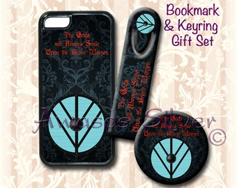 iPhone case, Bookmark and keyring/bottle opener Gift Set. Lagertha inspired. Viking inspired.