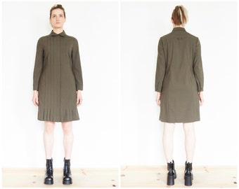 90s Army Green Pleated Wool Shirt Dress