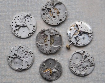 0.9 inch Set of 7 vintage wrist watch movements.