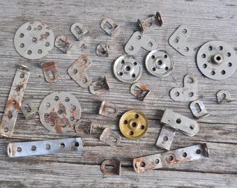 Antique 1930's rusty metal constructor details,parts.