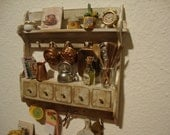 RESERVED for Maria dollhouse  miniature panel box with drawers kitchen
