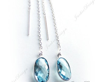 Blue Topaz Long Thread Earrings Sterling Silver Long Threader Earrings JD95